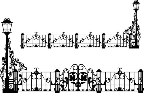 Vector hình bóng hàng rào sắt cổ xinh đẹp với ánh sáng đường phố