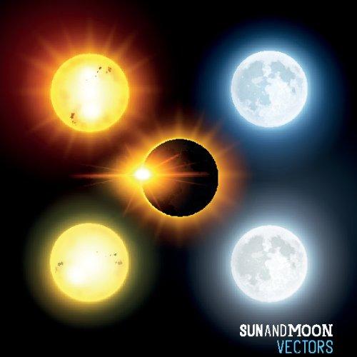 Vector Mặt trời và mặt trăng