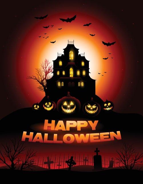Vector Halloween ma ám ở nghĩa trang