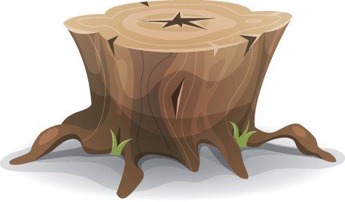 Vector minh họa phim hoạt hình hài hước với gốc cây, rễ và cỏ