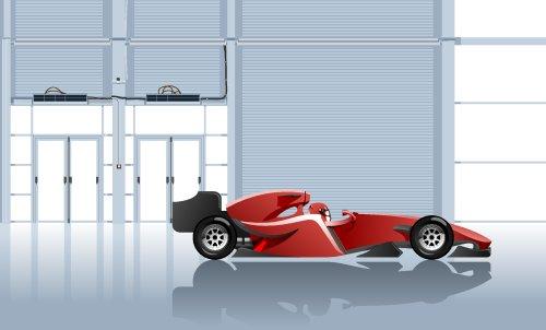 Vector minh họa của chiếc xe đua trong nhà để xe