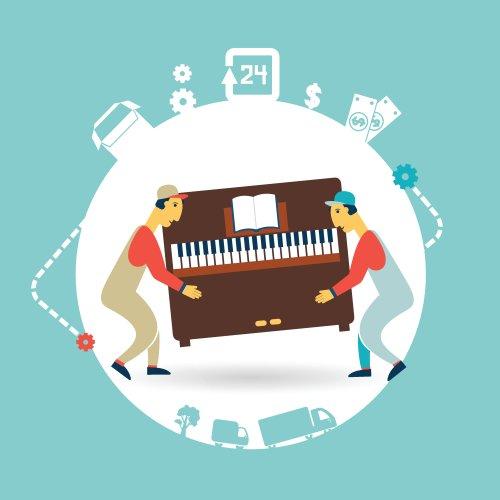 Vector hai người đàn ông vận chuyển đàn piano
