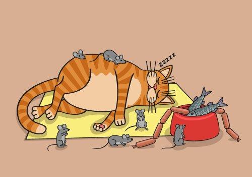 Vector Mèo lười