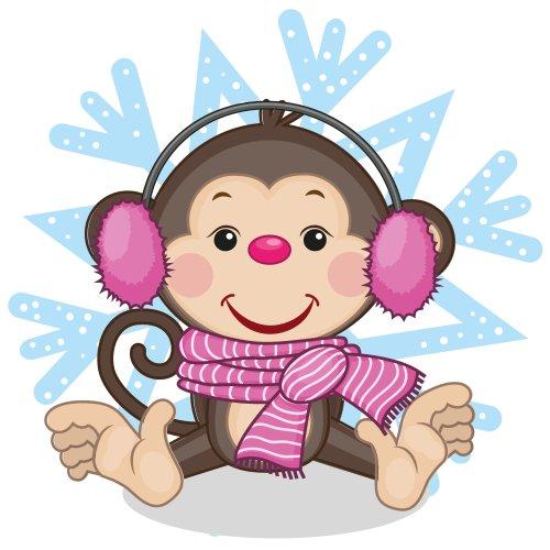 Vector con khỉ mang tai nghe lông thú trên nền của bông tuyết