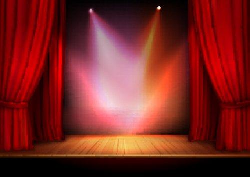 Vector màn nhung sân khấu màu đỏ với ánh sáng