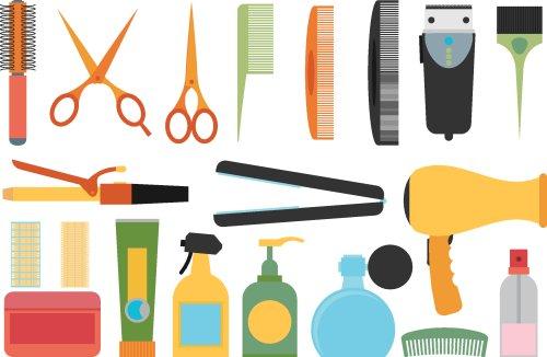 Vector các dụng cụ thiết kế kiểu tóc