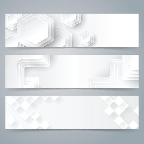 Vector bộ sưu tập thiết kế biểu ngữ trên nền trắng