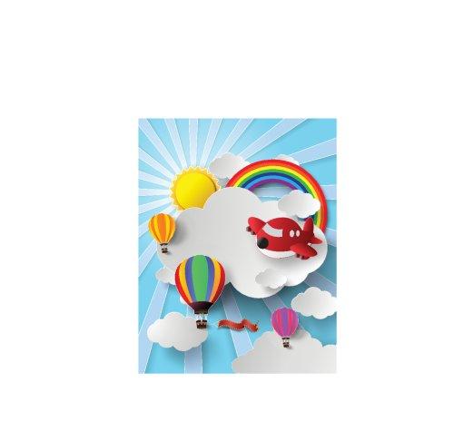 Vector minh hoạ không khí nóng và khí cầu trên bầu trời