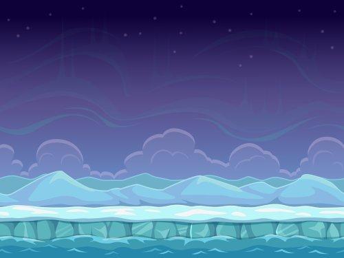 Vector phim hoạt hình liền mạch vùng biển Bắc Cực