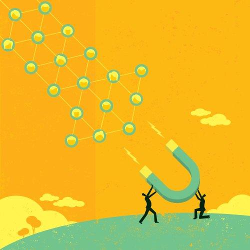 Vector Người kinh doanh sử dụng nam châm lớn để thu hút mạng xã hội lớn.