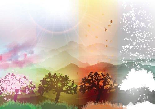 Vector cây tượng trưng bốn mùa, Mùa Xuân, Mùa Hè, Mùa Thu, Mùa Đông