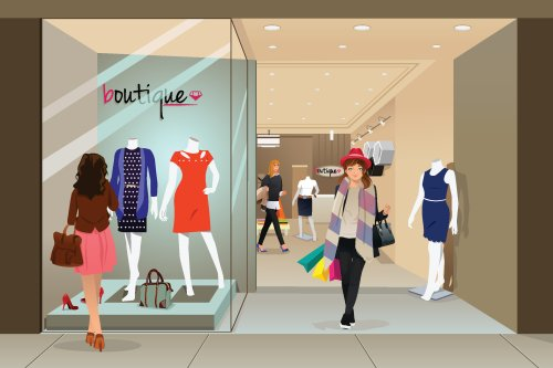 Vector minh họa người phụ nữ mua sắm tại cửa hàng thời trang