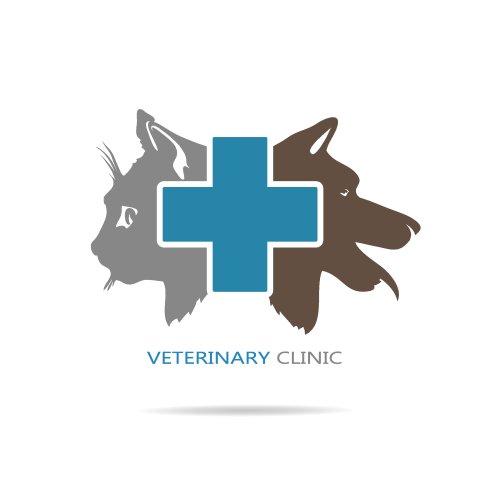 Vector phòng thí nghiệm thú y biểu tượng mèo và hình con chó