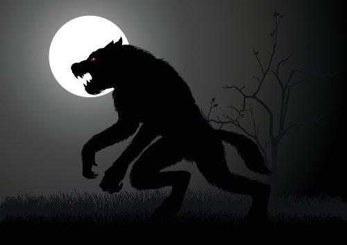 Vector người sói ẩn trong bóng tối dưới trăng tròn