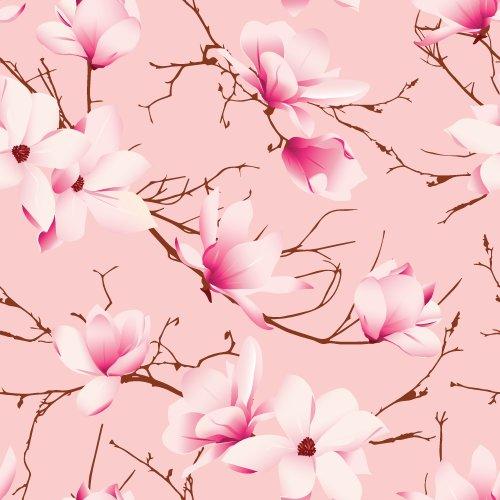Vector hoa mộc lan màu hồng liền mạch