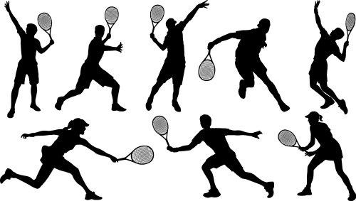 Vector hình bóng người chơi quần vợt trên nền trắng