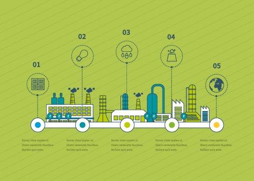 Vector thiết kế phẳng nhà máy công nghiệp nhà xưởng