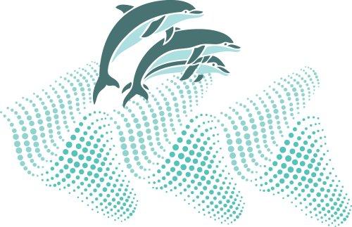 Vector Cá heo nhảy lên sóng