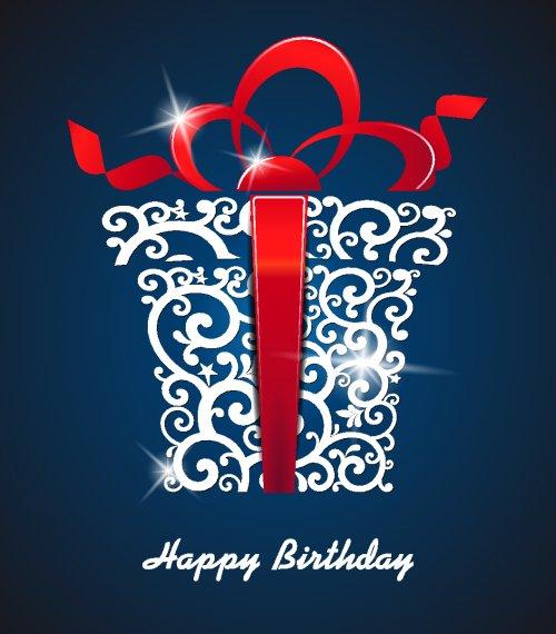 Vector hình ảnh thiệp chúc mừng sinh nhật với hộp quà tặng