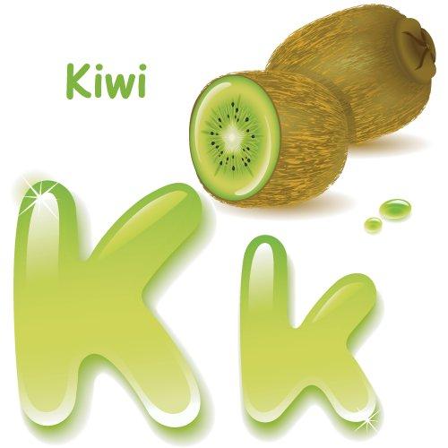 Vector Bảng chữ cái, chữ hoa K, màu cách điệu của nước ép kiwi.