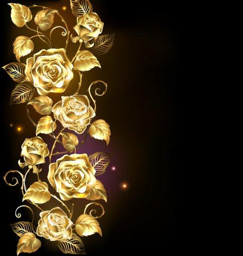 Vector hoa hồng vàng xoắn trên nền đen