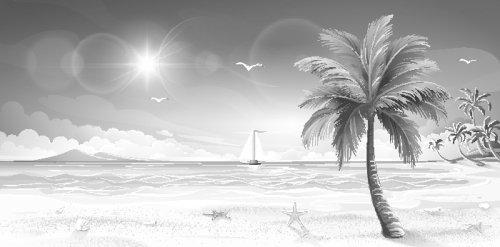 Vector Đảo nhiệt đới với cây cọ