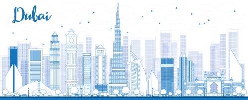 Vector Phác thảo đường chân trời Thành phố Dubai với những tòa nhà chọc trời màu xanh.