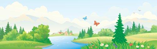 Vector minh họa cảnh quan tuyệt đẹp trên sông