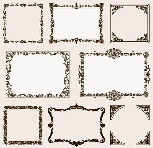 Vector khung trang trí và các yếu tố cuộn cổ điển cho thiết kế