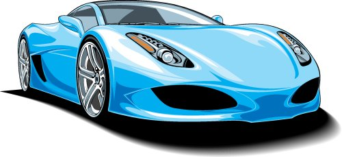 Vector thiết kế xe thể thao cô lập trên nền trắng