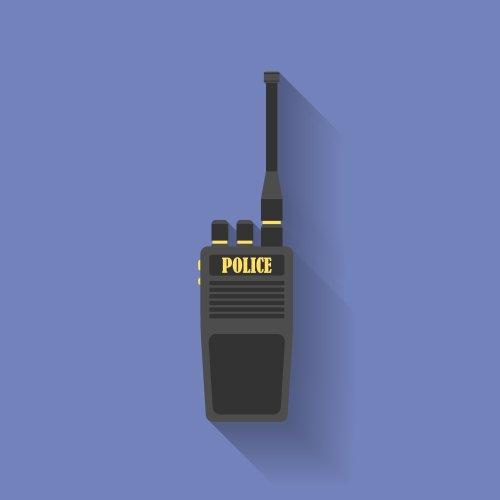 Vector Biểu tượng của Đài phát thanh cảnh sát. Phong cách phẳng