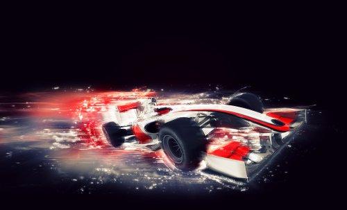 Ảnh 3D của một chiếc xe F1 chung với hiệu ứng tốc độ đặc biệt