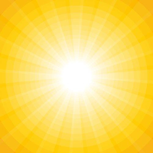 Vector nền màu vàng với một mặt trời màu trắng với tia và vòng tròn