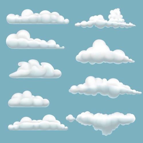 Vector tập hợp các đám mây hoạt hình trên nền xanh