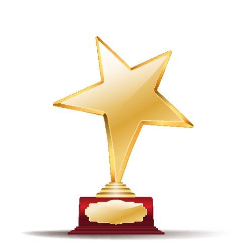 Vector giải thưởng ngôi sao vàng trên nền trắng
