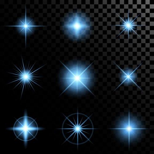 Vector bộ ánh sáng rực rỡ của các ngôi sao lấp lánh bị cô lập trên nền đen.