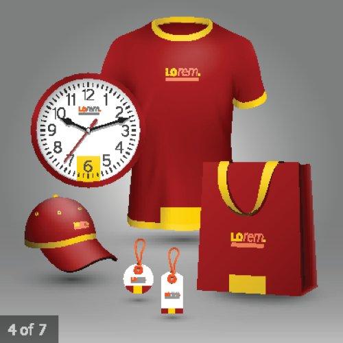 Vector màu đỏ cổ điển quảng cáo lưu niệm cho công ty với hình dạng trung tâm màu vàng