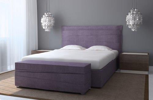Ảnh nội thất phòng ngủ hiện đại, bức tường màu xám và giường màu tím