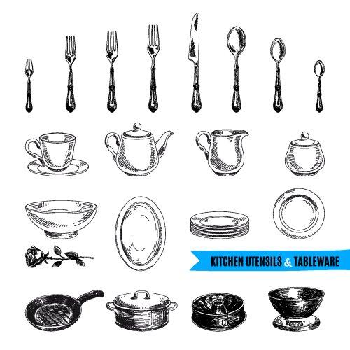 Vector vẽ tay minh hoạ các công cụ nhà bếp.