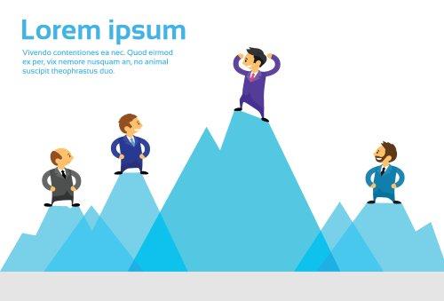 Vector nhóm nhân viên kinh doanh đứng trên đỉnh cao nhất của Núi