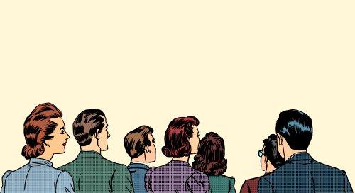Vector đám đông khán giả đứng ngược lại phong cách pop
