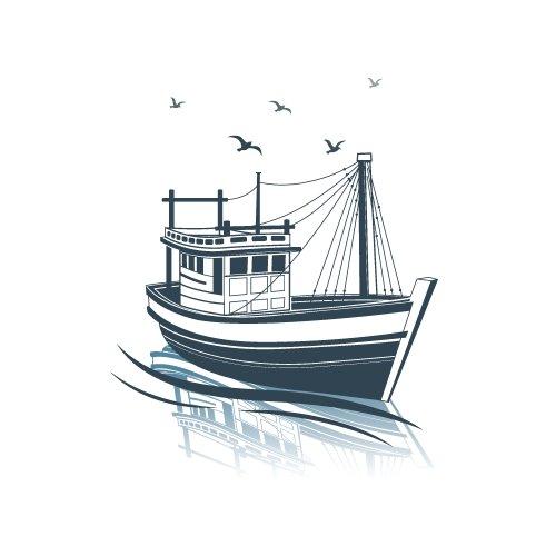 Vector thuyền câu cá trên biển