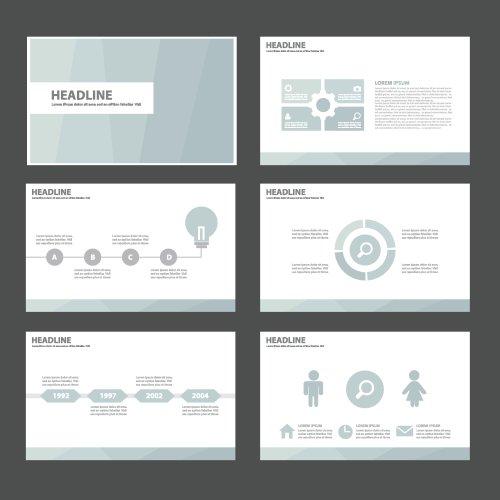 Vector biểu đồ đa dạng màu xanh nhạt và biểu tượng trình bày mẫu thiết kế phẳng