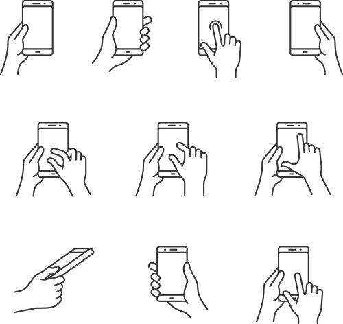 Vector các biểu tượng cử chỉ cho điện thoại thông minh