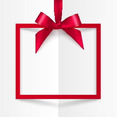 Vector hộp quà tặng màu đỏ với nơ mềm mại