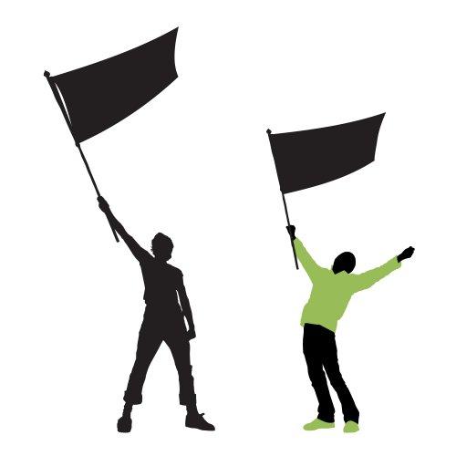 Vector - vector minh hoạ hai người đàn ông cầm một lá cờ