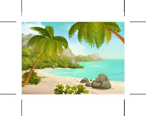 Vector hình nền bãi biển nhiệt đới