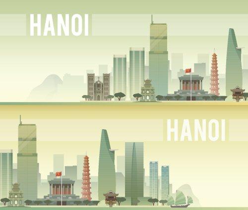 Vector biểu ngữ cảnh quan đô thị của Hà Nội