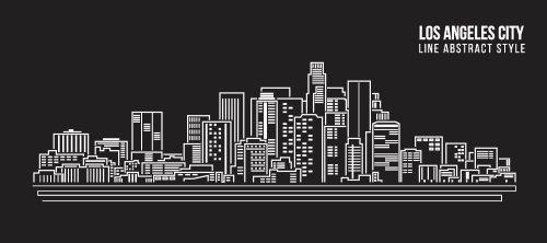 Vector cảnh quan thành phố xây dựng theo hàng nghệ thuật