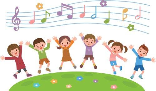 Vector bản vẽ minh họa trẻ em vui vẻ với các nốt nhạc